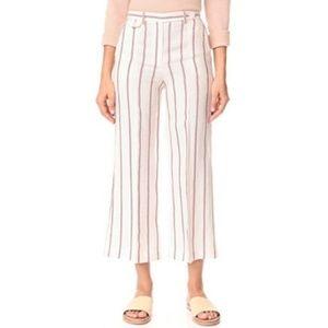 Theory Nadeema Wide Leg Stripe Linen Crop Pant 383